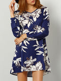 Navy Long Sleeve Floral Dress
