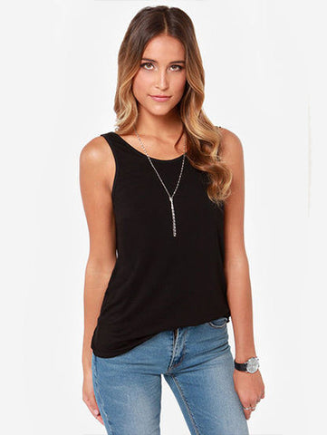 Black Sleeveless Backless Slim Tank Top