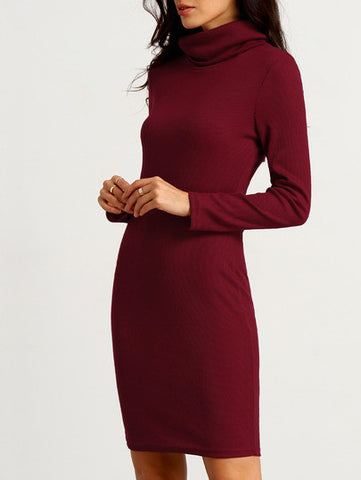 Burgundy Long Sleeve Cowl Neck Dress