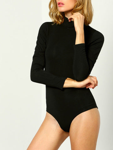 Black Mock Neck Cut Out Back Bodysuit