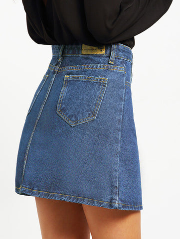 Blue A-Line Denim Skirt With Single-breasted