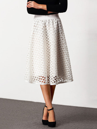 White High Waist Eyelet Skirt