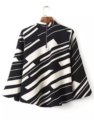 Black White Stand Collar Striped Crop Blouse