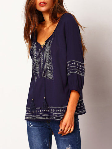 Navy Lace Up Embroidered Loose Blouse