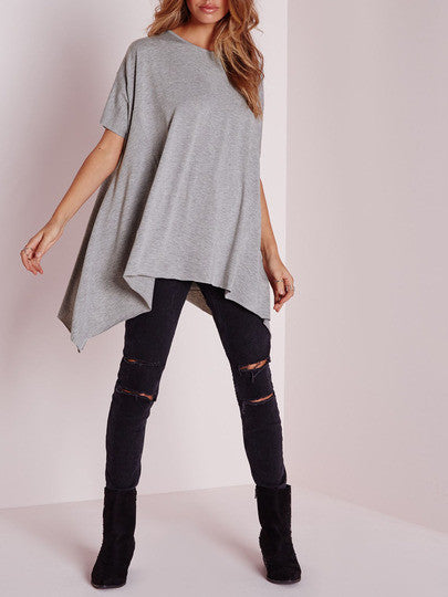 Grey Crew Neck Asymmetric T-Shirt