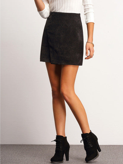 Black Buttons Corduroy Skirt