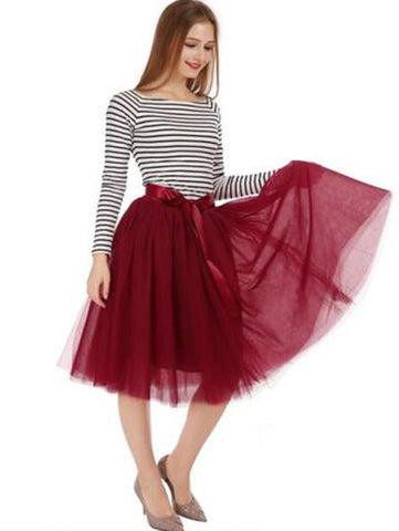 Midi Long Tulle Skirt American Apparel Tutu Skirts Womens Petticoat Elastic