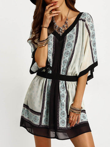 Beige Aztec Print Color Block Trims Dress