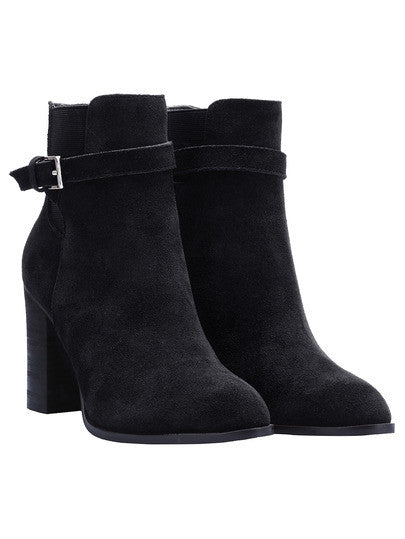 Black Chunky High Heel Buckle Strap Boots