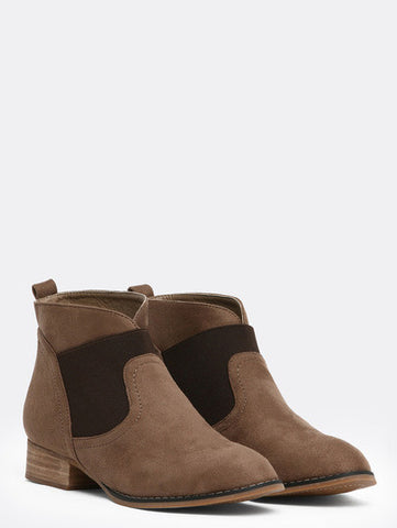 Brown Round Toe Elastic Boots