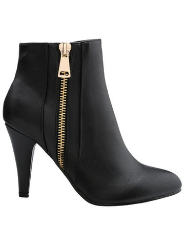 Black Stiletto High Heel Zipper Boots