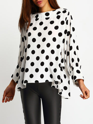 Black Polka Dots Batwing Sleeve Blouse
