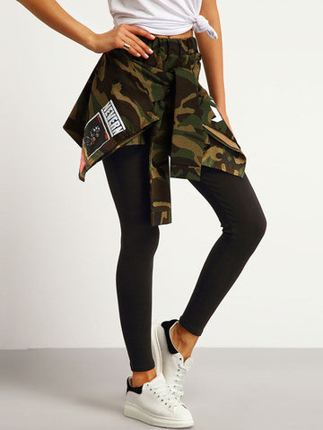 Green Elastic Waist Camouflage Skirt Pant