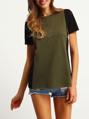 Colour-block Short Sleeve Loose T-Shirt