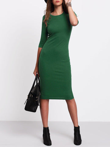 Green Half Sleeve Casual Midi Dress