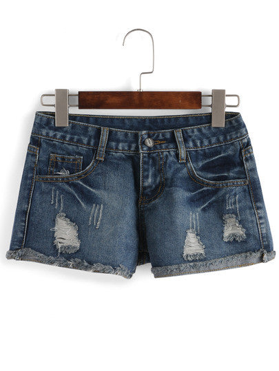 Ripped Frayed Scratch Denim Shorts