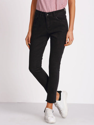 Black Frayed Denim Pant