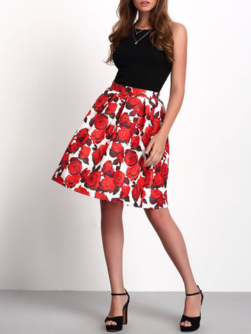 Florals Zipper Flare Skirt