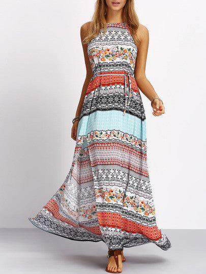 Multicolor Vintage Print Split Maxi Dress