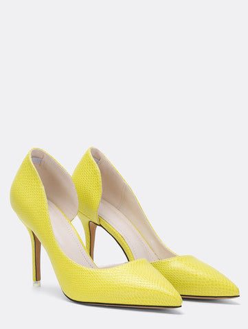 Snake Embossed Half D'orsay Pumps