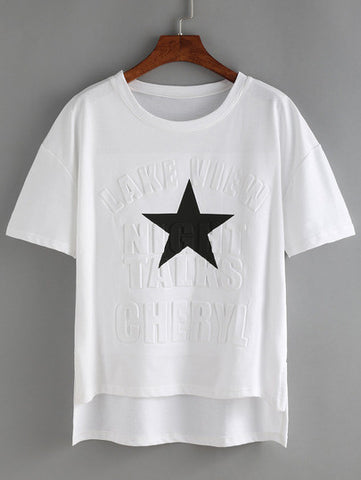 Dip Hem Split Star Print Embossed T-shirt