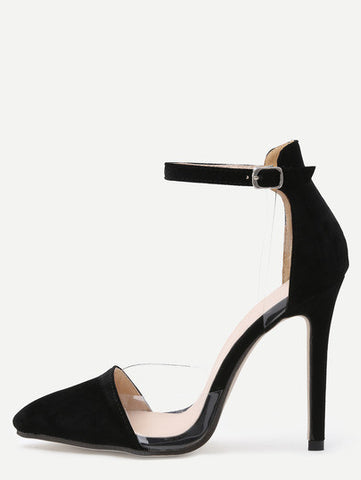 Faux Suede Clear Side Ankle Strap Pumps