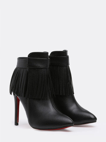 Black High Heel Tassel PU Boots