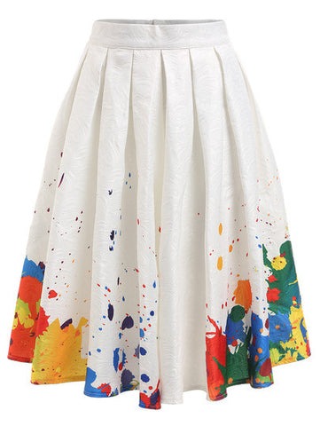 Multicolor In Print Pleated Skirt