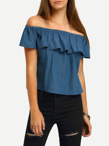 Blue Boat Neck Ruffle Denim Blouse