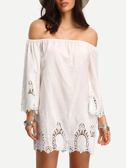Beige Off The Shoulder Bell Sleeve Crochet Dress