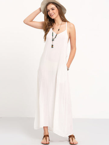 White Spaghetti Strap Pleated Floor Length Dress
