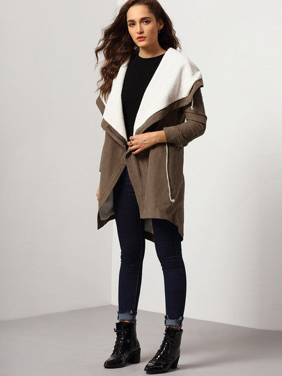 Khaki Hooded Long Sleeve Coat