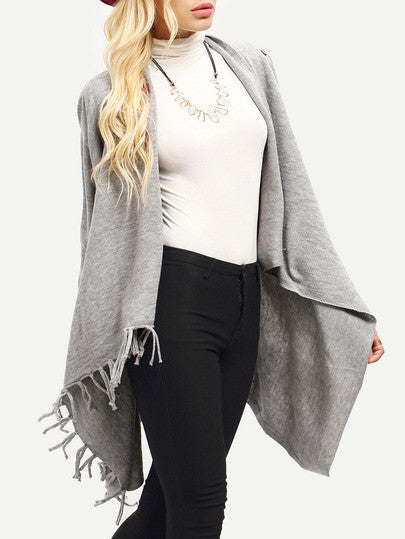 Grey Long Sleeve Tassel Sweater