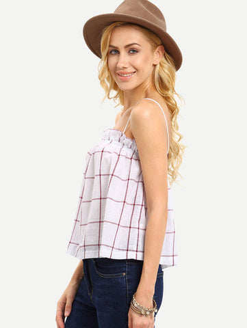 Red White Plaid Spaghetti Strap Blouse