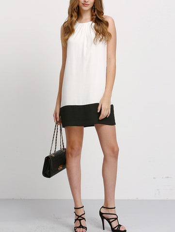 Beige Black Contrast Sleeveless Shift Dress