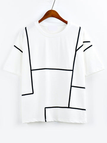 Contrast Binding T-shirt - White