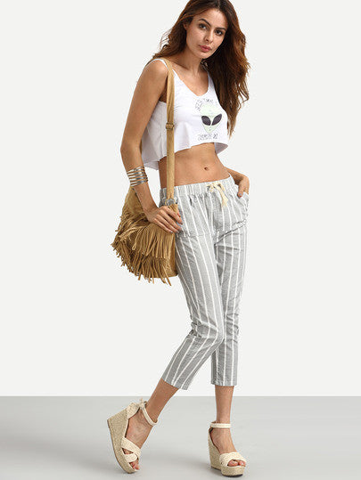 Vertical Striped Drawstring Waist Pants