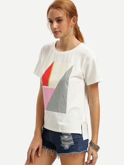 White Short Sleeve Split Print T-shirt