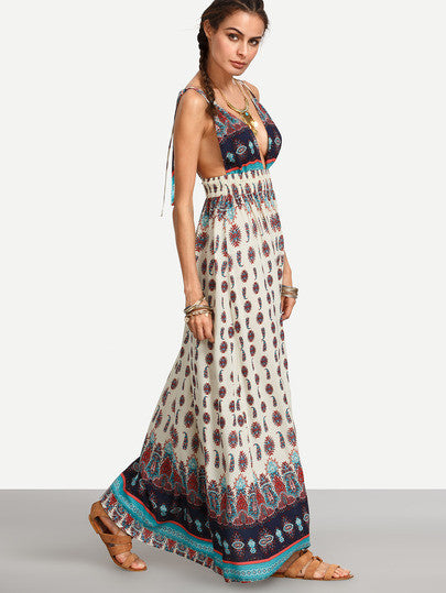 Multicolor Print Spaghetti Strap V Neck Backless Dress
