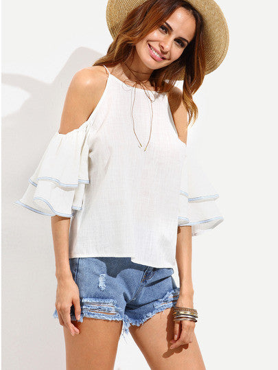White Cold Shoulder Ruffle Sleeve Blouse