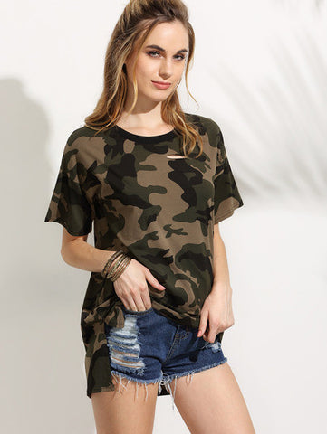 Camo Print Dropped Shoulder High Low T-shirt