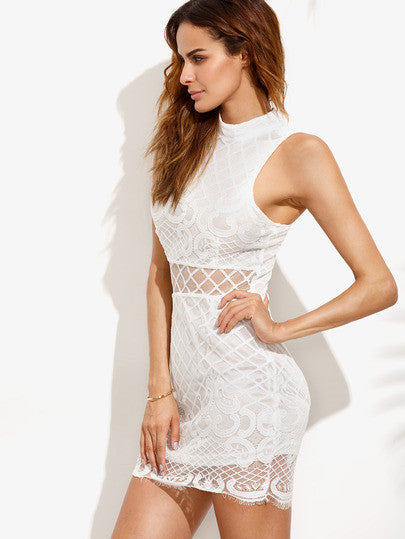 White Sheer Mesh Cut Out Irregular Lace Hem Bodycon Dress
