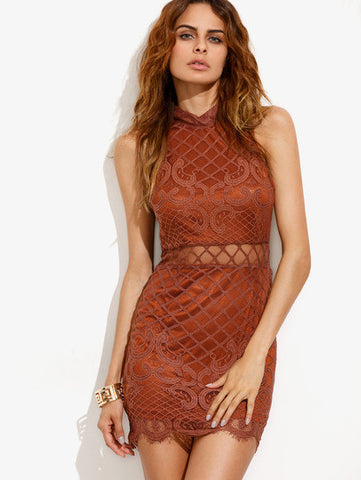 Khaki Sheer Mesh Cut Out Irregular Lace Hem Bodycon Dress