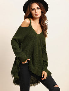 Cold Shoulder Fringe Hem Sweater