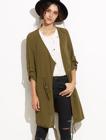 Army Green Draped Collar Drawstring Chiffon Coat