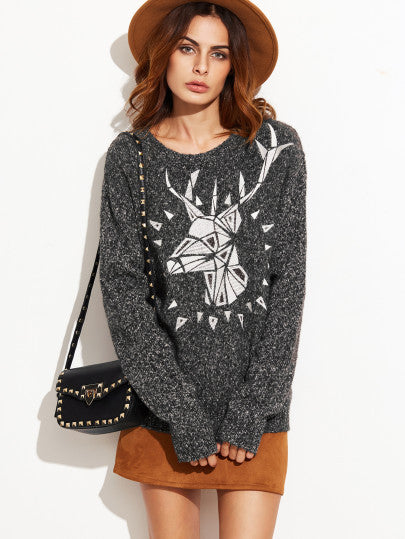 Grey Marled Knit Elk Print Pullover Sweater
