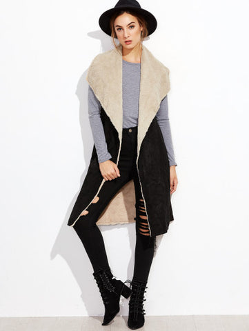 Black Oversized Drape Collar Faux Shearling Vest
