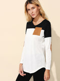 Color Block Eblow Patch Curved Hem T-shirt