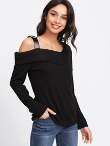 Asymmetric Neck Buckle Detail Tee