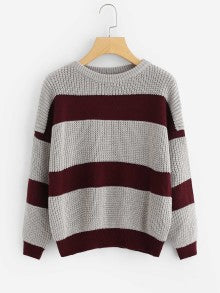 Contrast Wide Stripe Drop Shoulder Jumper